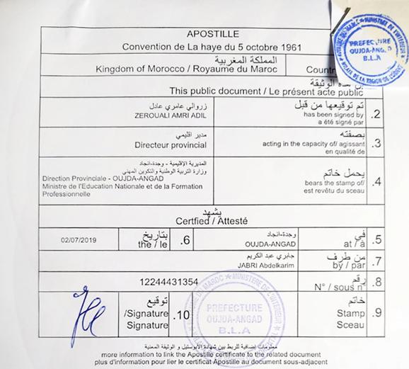 Apostilla de La Haya emitida en Marruecos en arabe y frances