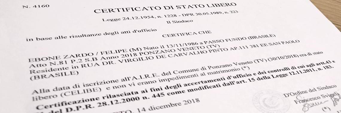Certificado Italiano de Solteria (Certificato di Stato LIbero)