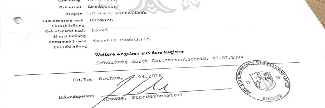 Certificado alemán de Matrimonio traducido, firmado y sellado