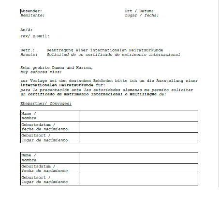 carta para solicitar certificado de matrimonio