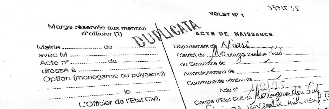 """Traduccion Jurada de un """"Acte de Naissance"""" francesa."""