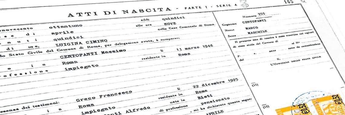 """Partida de Nacimiento (en italiano """"Atti di Nascita""""). Traducción Jurada a Español."""