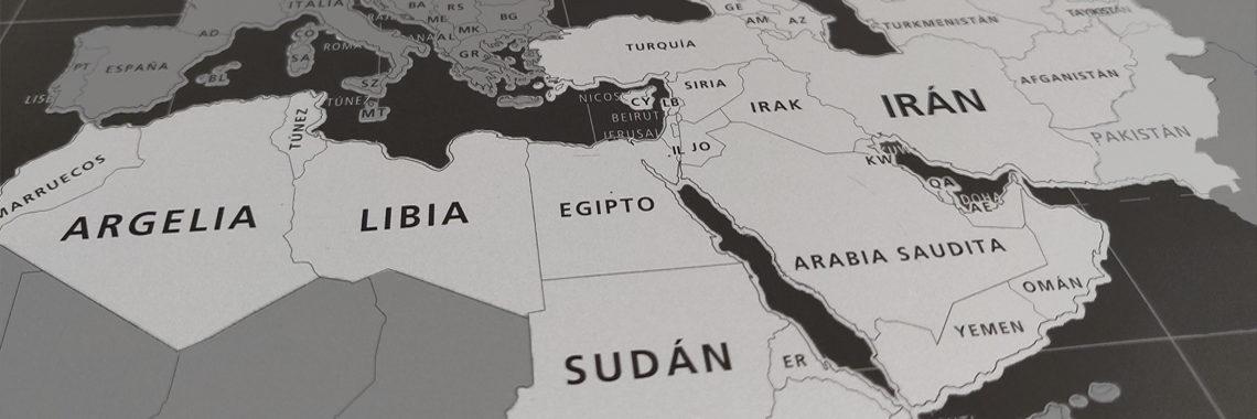 Arabia Saudita, Argelia, Egipto, Emiratos Árabes Unidos, Irak, Irán (oeste del país), Israel, Jordania, Kuwait, Líbano, Libia, Marruecos, Mauritania, Omán, Palestina, Qatar, Sáhara Occidental, Siria, Somalia, Sudán, Túnez, Yemen ó Yibuti